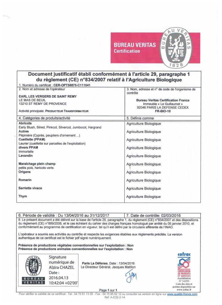 Certification Bio pour les Catégories de produits et l'activité de production biologique au Mas de la Chouette Saint Rémy de Provence 13210