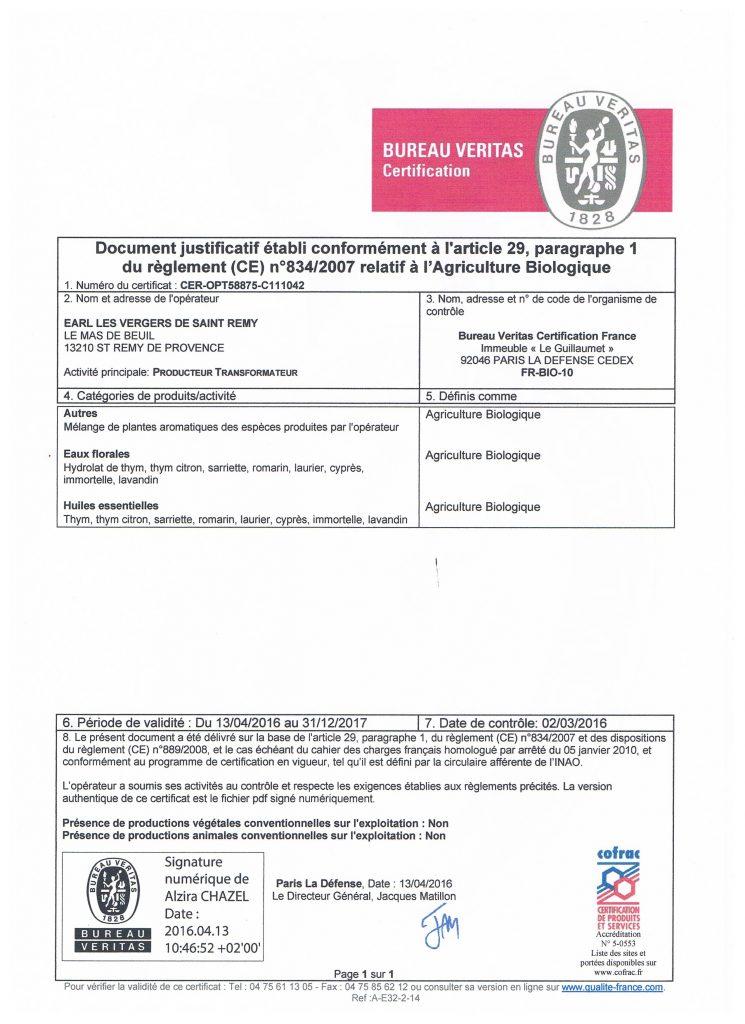 Certification Bio pour les produits transformés de la production biologique du Mas de la Chouette Saint Rémy de Provence 13210
