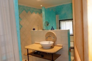 Bathroom Blue cottage shower le mas de la chouette