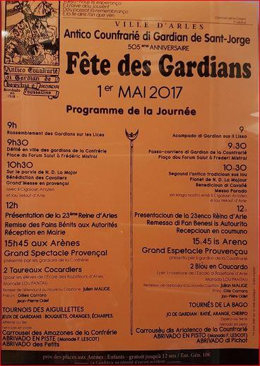 Fêtes des Gardians Programme 2017 Le Mas de la Chouette Gites et Chambres d'hôtes Saint Rémy de Provence